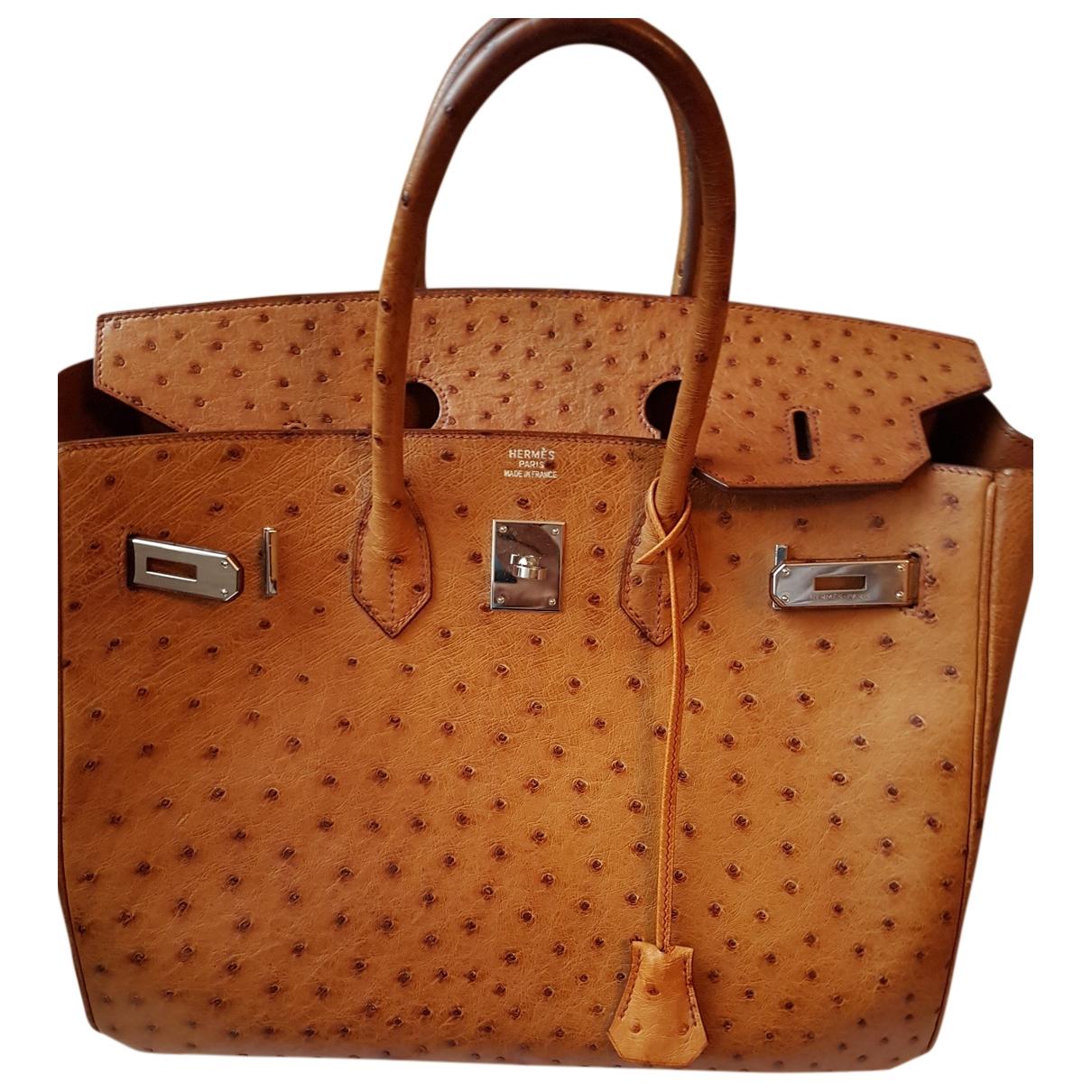Hermes Birkin 40 Handtasche in  Braun Vogelstrauss