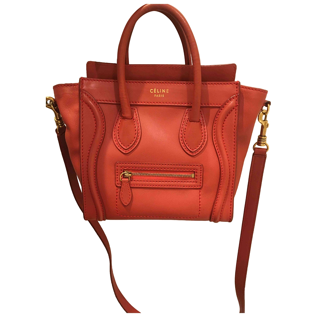 Celine Nano Luggage Handtasche in  Orange Leder