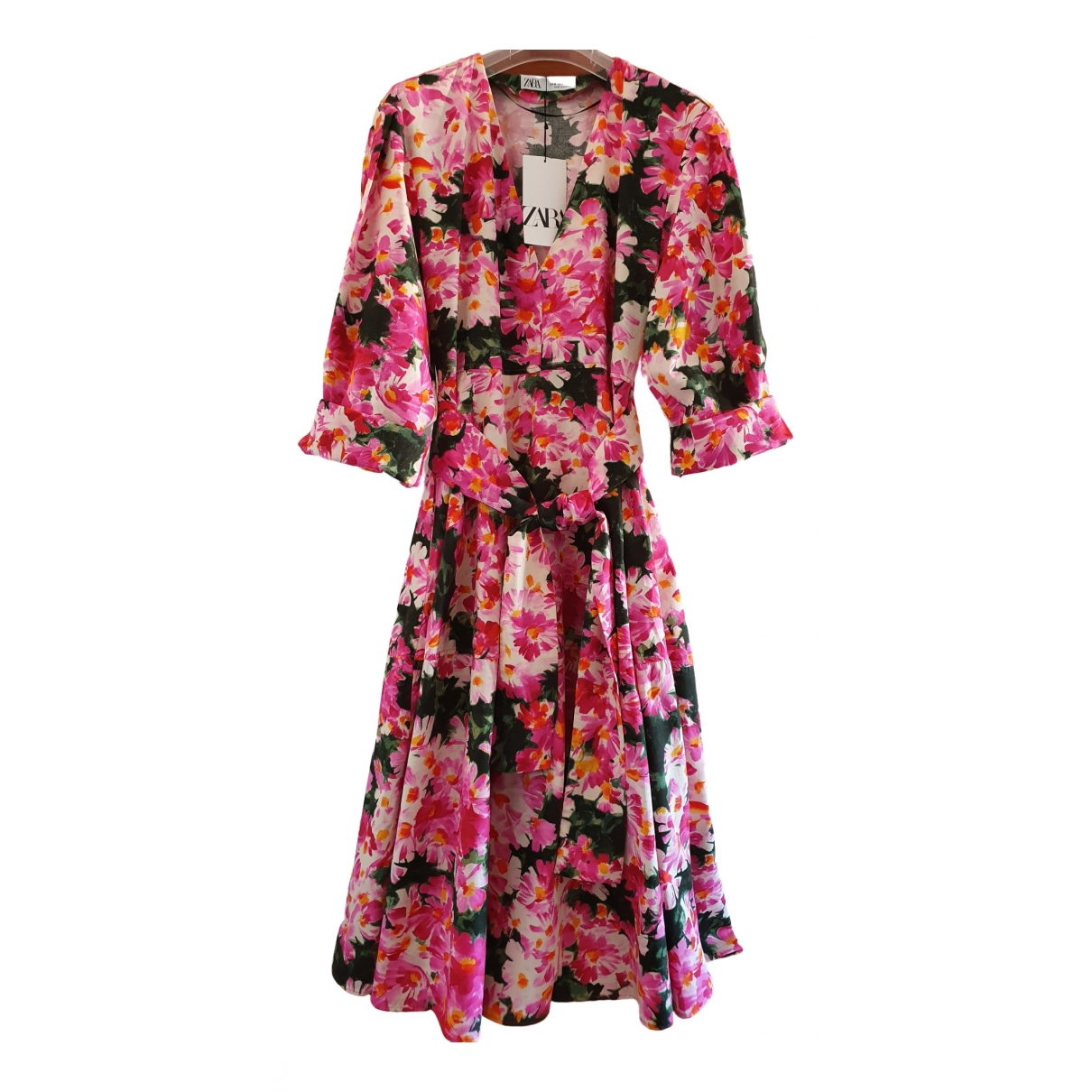 Zara - Robe   pour femme en coton - rose