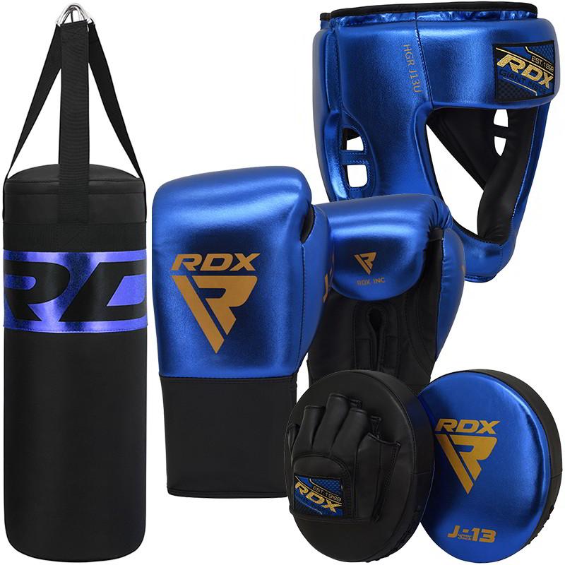 RDX J13 KIDS Set De Guantes De Boxeo , Saco De Boxeo, Casco Y Manoplas De Enfoque 8oz Azul