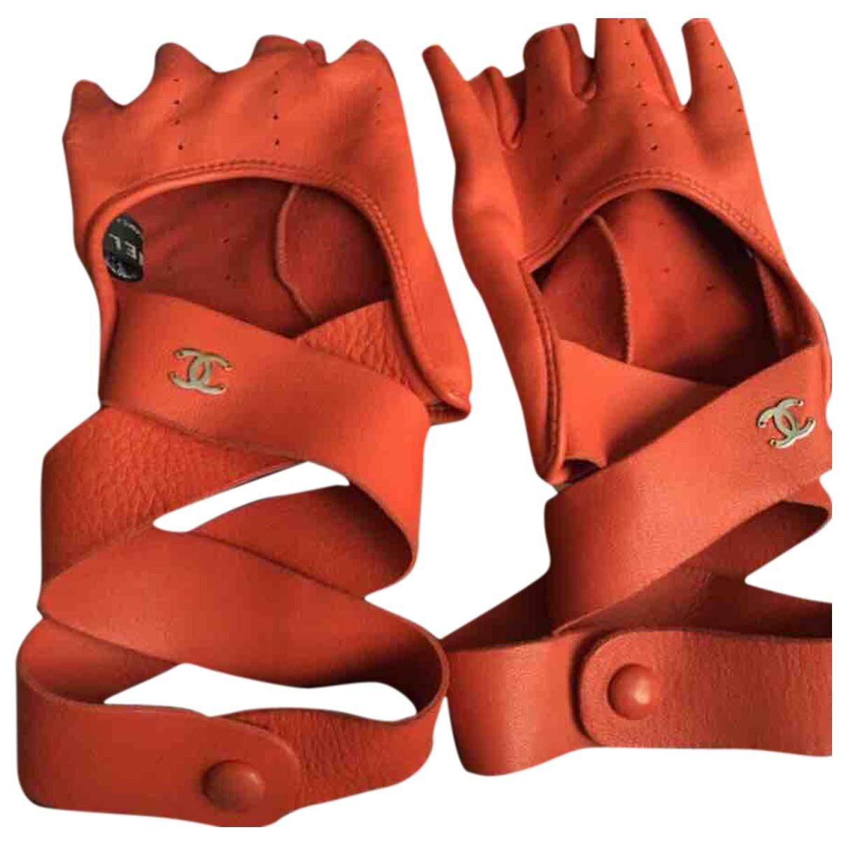 Chanel \N Handschuhe in  Rot Leder