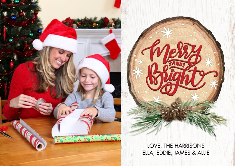 Christmas Photo Cards 5x7 Cards, Premium Cardstock 120lb, Card & Stationery -Christmas Wood Plaque by Tumbalina