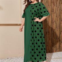 Plus Polka Dot Rolled Cuff Oversized Longline Dress
