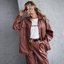 Flap Pocket PU Leather Coat