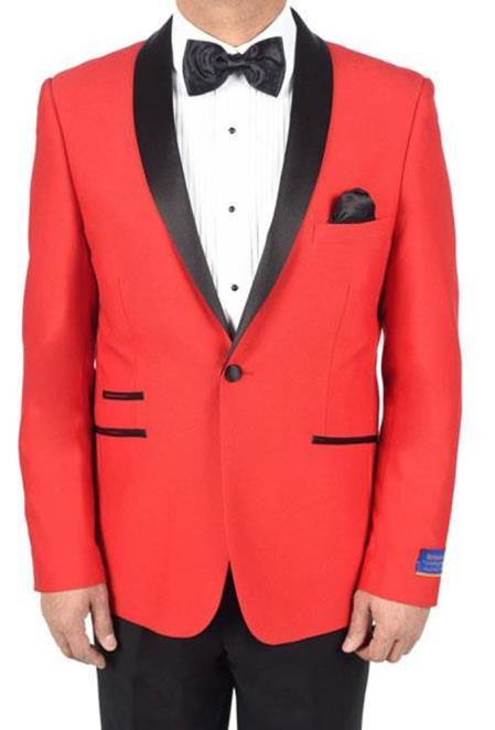Mens Red 1Button Viscose Blend TuxedoPattern Shawl Lapel Dinner Jacket