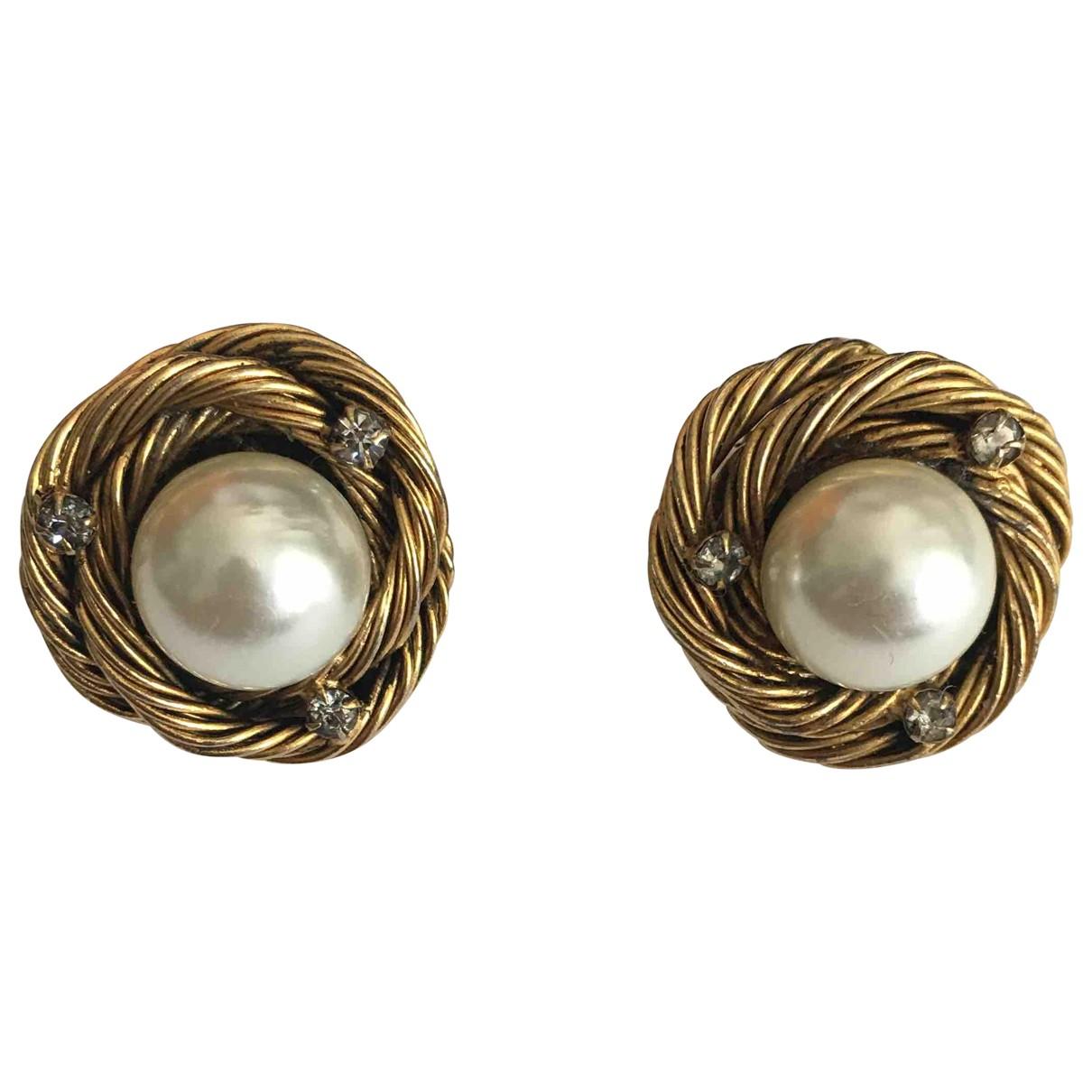 Chanel - Boucles doreilles Baroque pour femme en perle - dore