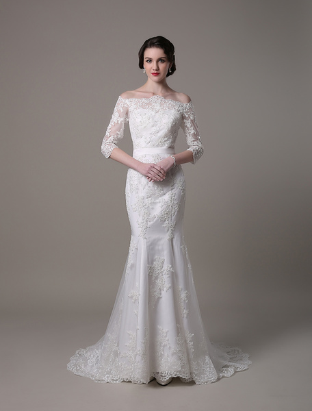 Milanoo Wedding Dresses Vintage Lace Mermaid Of The Shoulder Court Train Bridal Dress