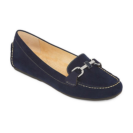 Liz Claiborne Womens Ashton Loafers, 6 1/2 Medium, Blue