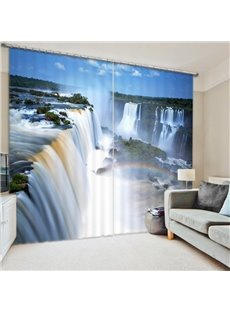 Spectacular Waterfall Scenery 3D Printed Polyester Curtain