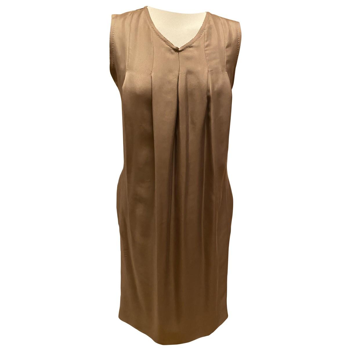 Bottega Veneta - Robe   pour femme en soie - camel