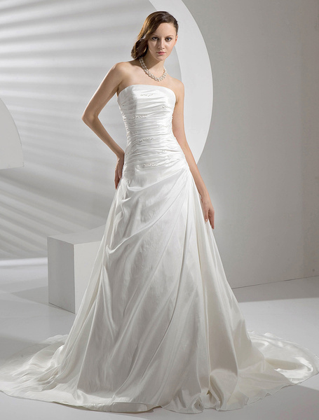 Milanoo Ivory Wedding Dress Strapless Ruched Pearls Wedding Gown