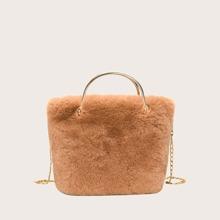 Faux Fur Decor Chain Satchel Bag