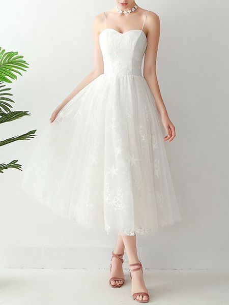 Milanoo Short Wedding Dress2020 A Line Sweetheart Neck Sleeveless Tea Length Natural Waist Tulle Bridal Dresses