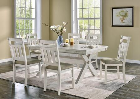 D1249D19PC7W Turino 7 PC Dining Set with 1x Dining Room Table + 6x Dining Room Chairs in Distressed