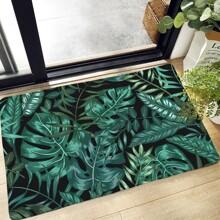 Alfombra de piso con estampado de hoja tropical