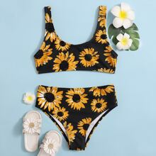 Maedchen Bikini Badeanzug mit Sonnenblumen Muster