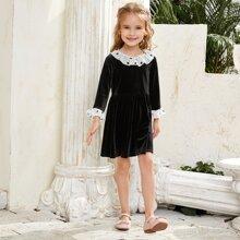 Toddler Girls Polka Dot Flounce Sleeve Velvet Dress