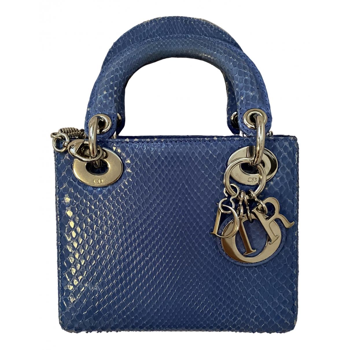 Dior Lady Dior Handtasche in  Blau Python