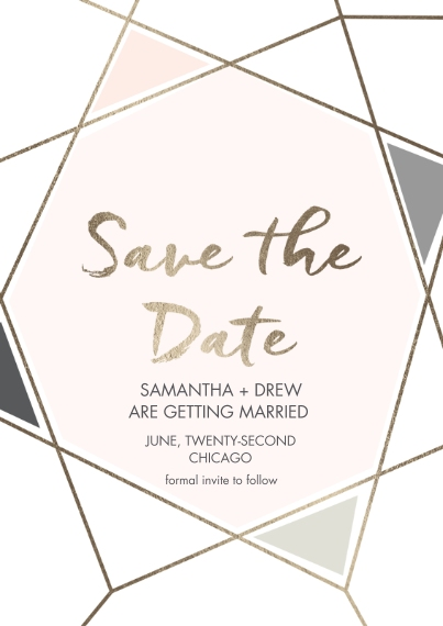 Save the Date 5x7 Cards, Standard Cardstock 85lb, Card & Stationery -Cubism Couple Save The Date