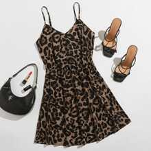 Slip Kleid mit Leopard Muster