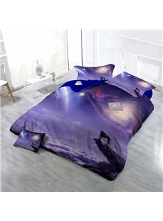 Wolf Howling at the Moon Wear-resistant Breathable High Quality 60s Cotton 4-Piece 3D Bedding Sets