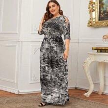 Grosse Grossen Maxi Kleid mit Schlangenleder Muster, Schlitz an Ärmeln und Raffung