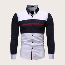 Camisa de hombres con costura con boton delantero