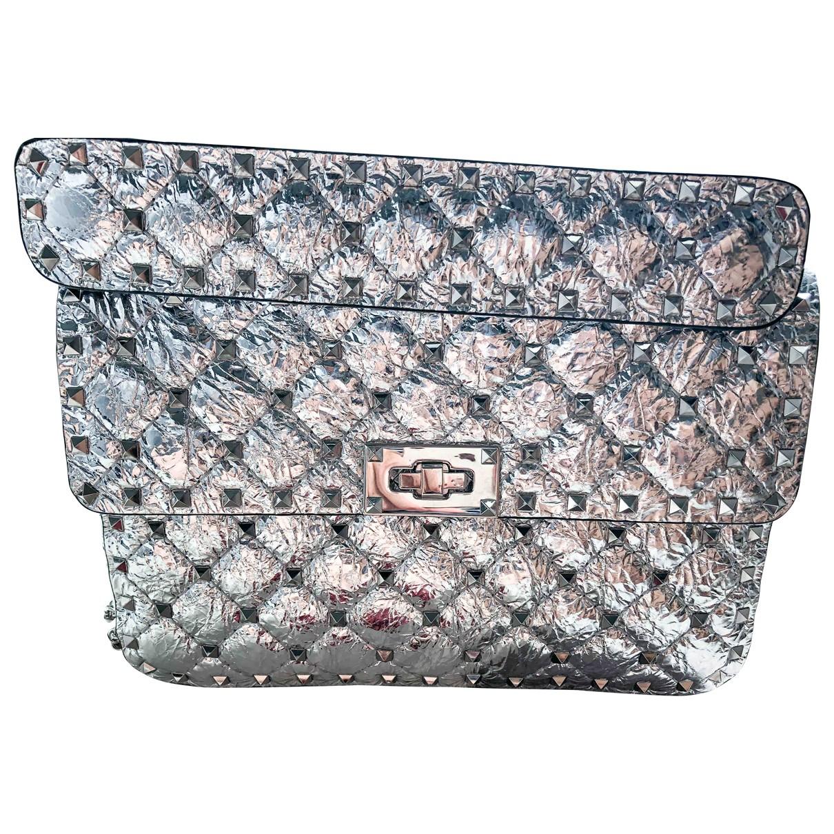 Valentino Garavani Rockstud spike Silver Leather handbag for Women \N