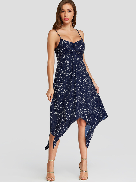 Yoins Navy Polka Dot Spaghetti Strap Dress