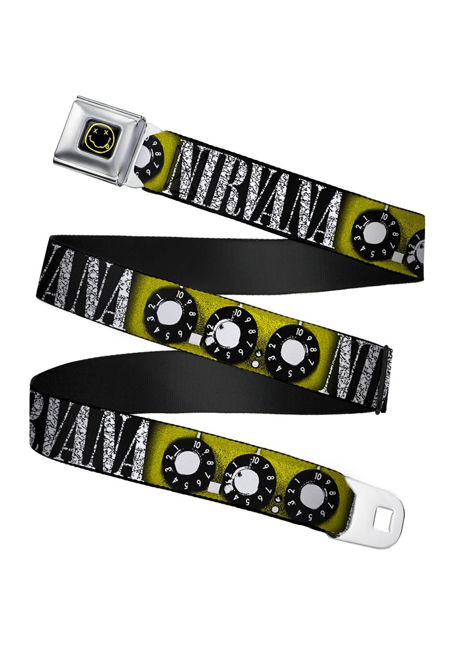 Nirvana Smiley Face Guitar Knobs Adult Seatbelt Buckle Belt