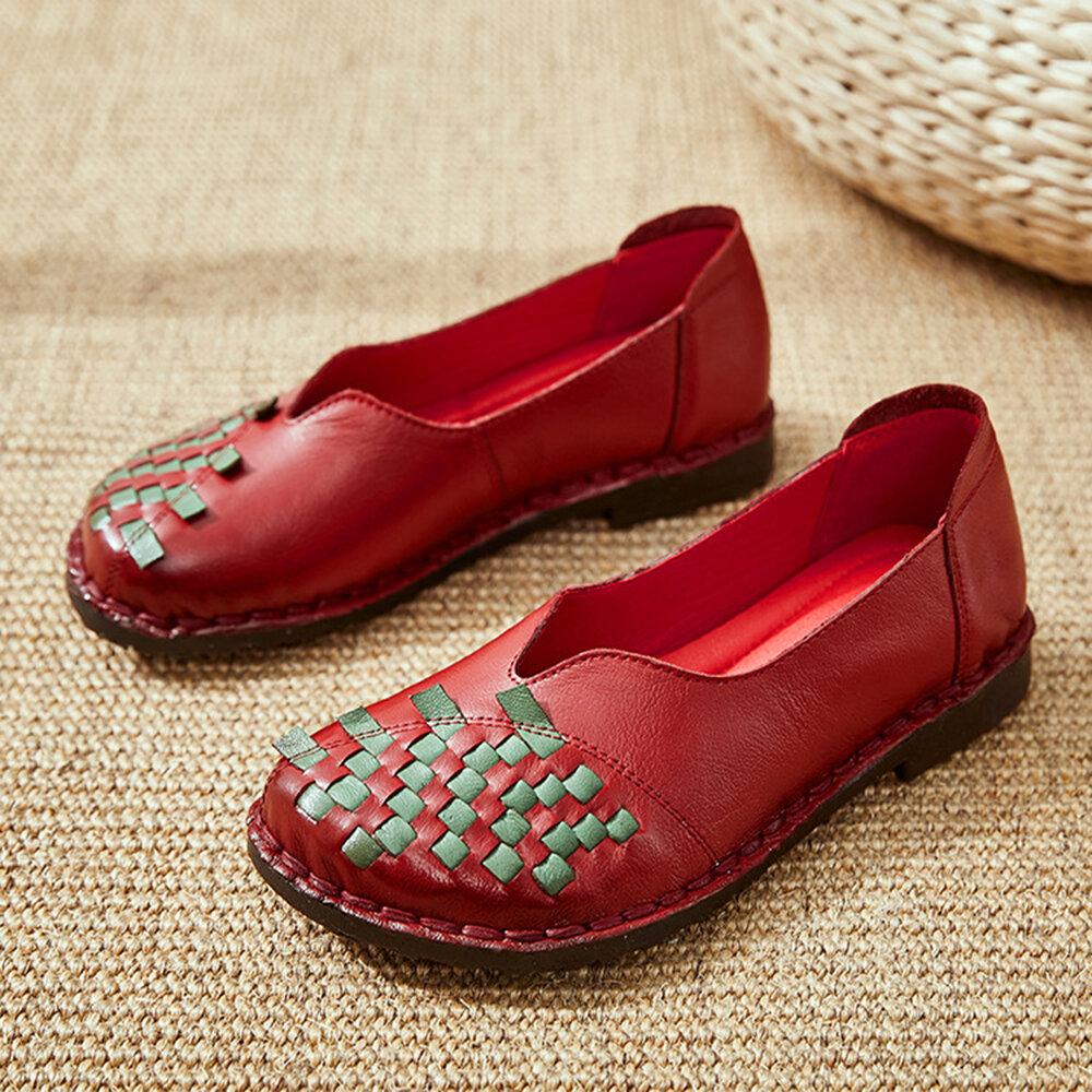 Women Retro Ethnic Style Leather Woven Slip Resistant Flats