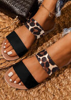 Leopard Round Toe Flat Slippers without Anklet
