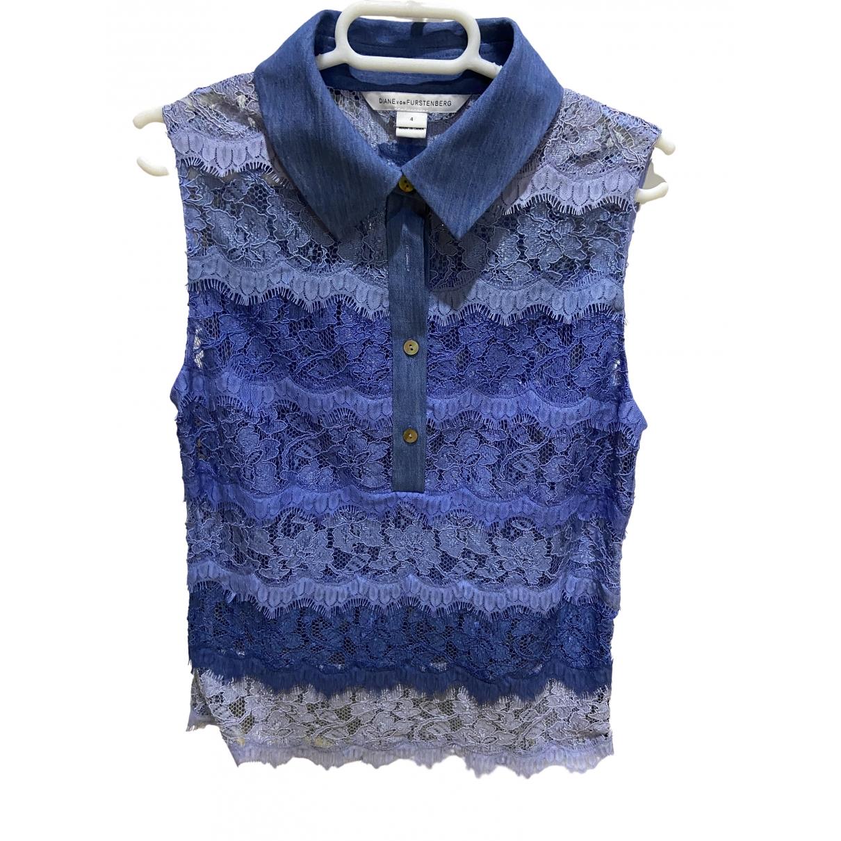 Diane Von Furstenberg - Top   pour femme en dentelle - bleu