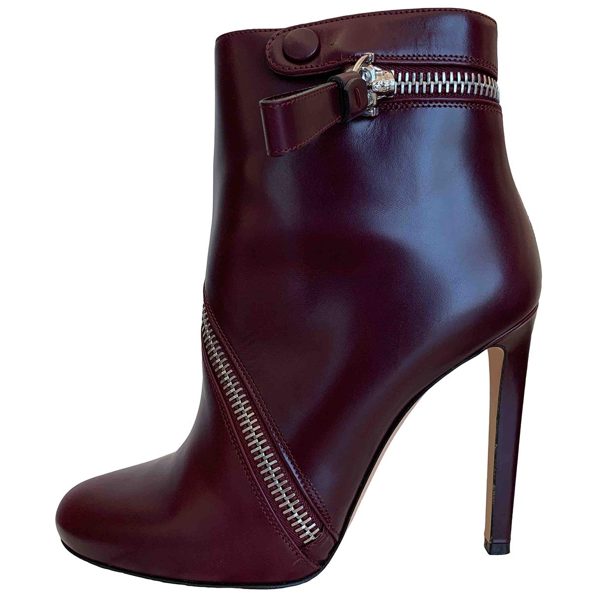 Alexander Mcqueen - Boots   pour femme en cuir - violet