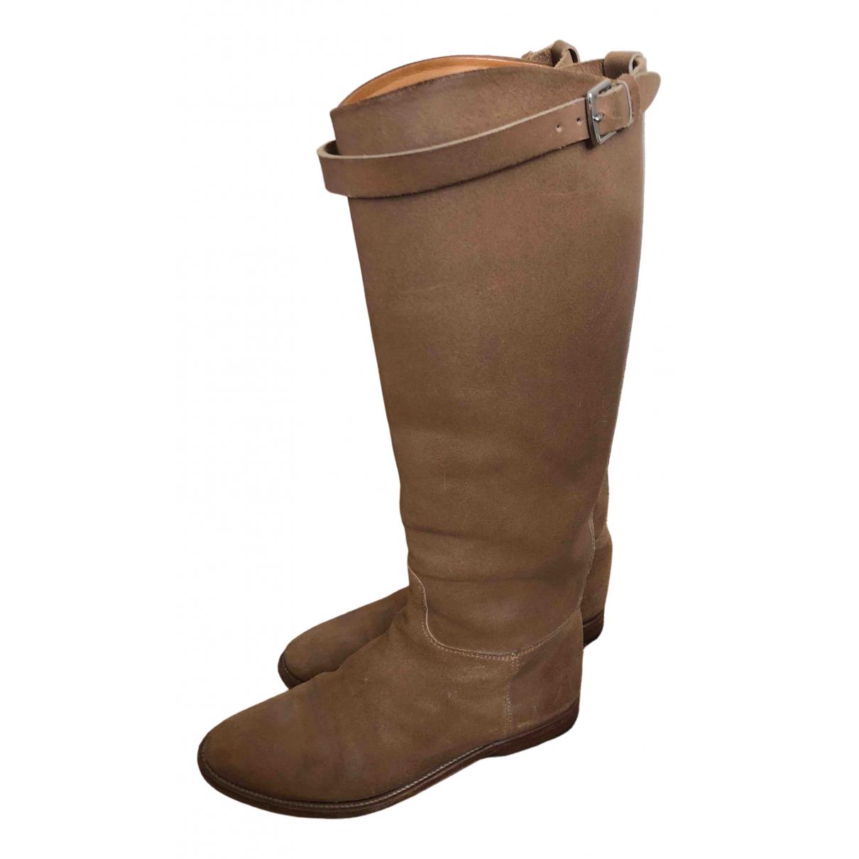 Hermes - Bottes   pour femme en cuir - beige