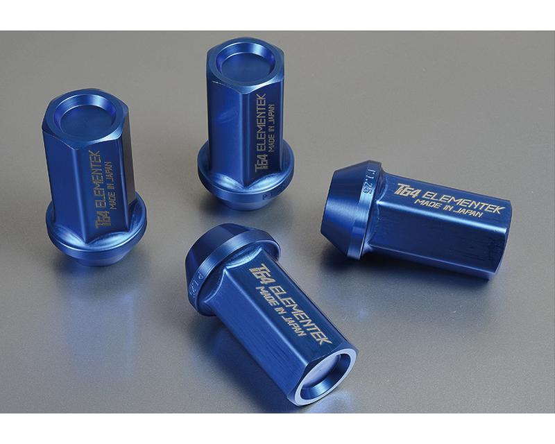Project Kics Ti64 Elementek Titanium Blue M12x1.25 60 Deg 40mm Nut 4 Pieces