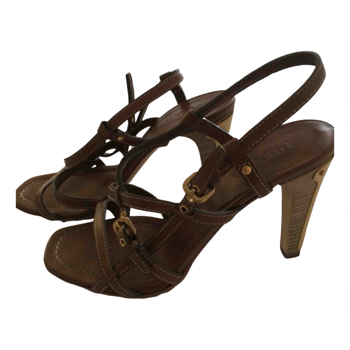 Prada \N Brown Leather Sandals for Women 38.5 IT