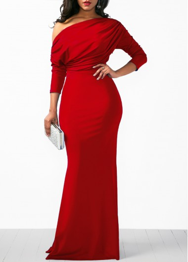 Christmas Rosewe Holiday Dress Christmas Rosewe Women Red Skew Neck Sheath Maxi Elegant Evening Party Dress Xmas Solid Color Three Quarter Sleeve - L