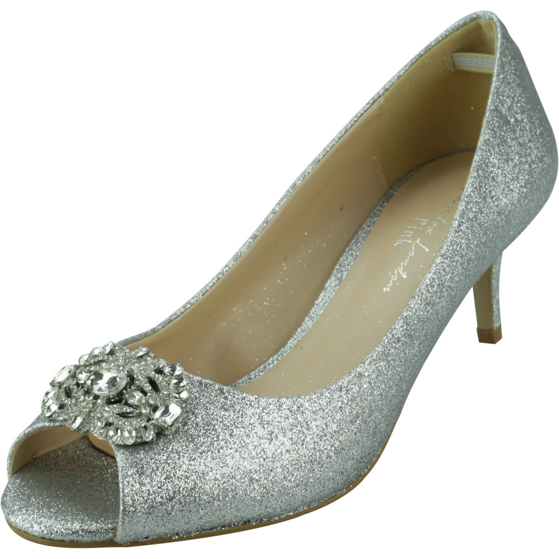Paradox London Women's Prunella Silver Glitter Ankle-High Pump - 8M