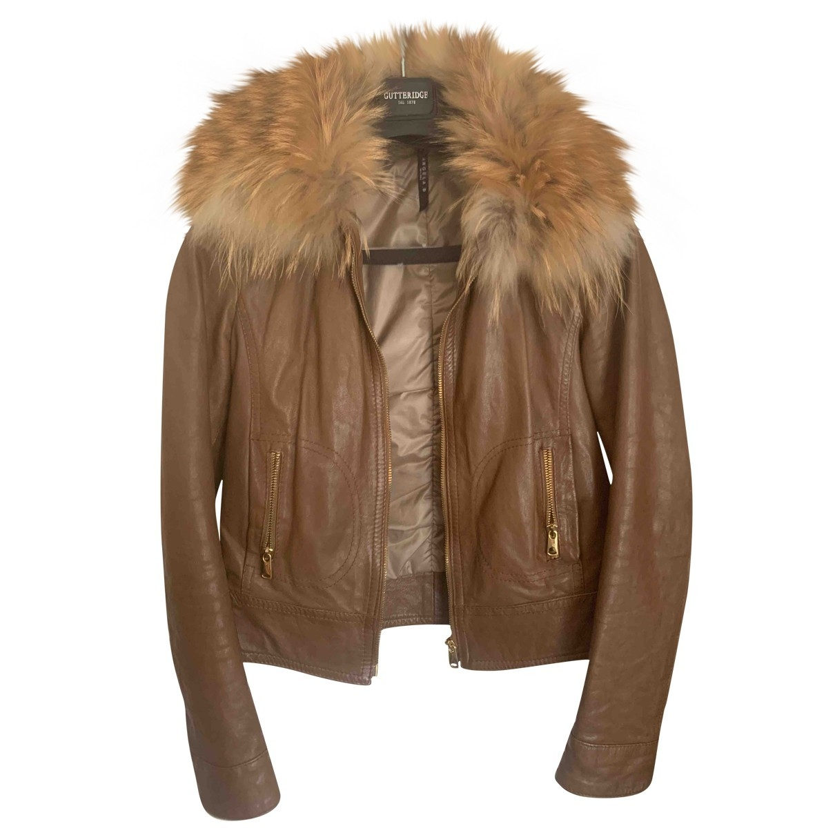 Non Signé / Unsigned \N Brown Leather Leather jacket for Women 40 IT