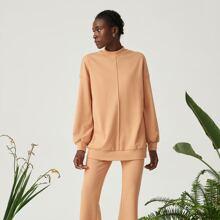 Baumwollmischung Sweatshirt mit sehr tief angesetzter Schulterpartie