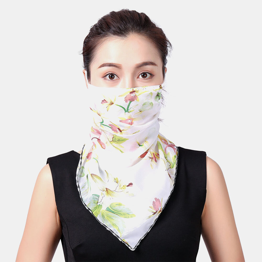 Women Breathable Printing Masks Ear-mounted Neck Protection Sunscreen Scarf Shawl