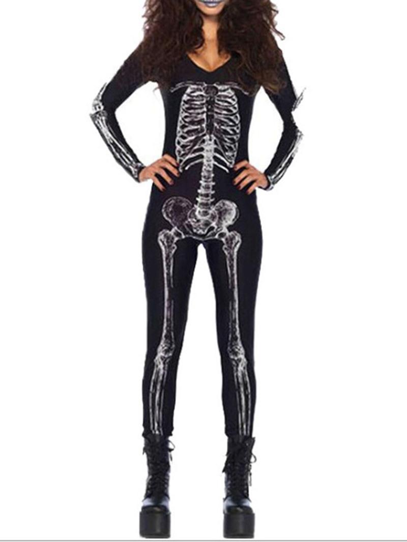 Ericdress Long Sleeve Print Skull Classic Halloween Polyester Costumes