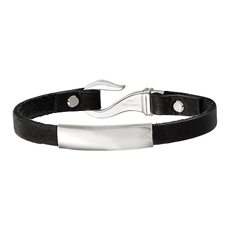 Mens Stainless Steel & Black Leather ID Bracelet, One Size , No Color Family