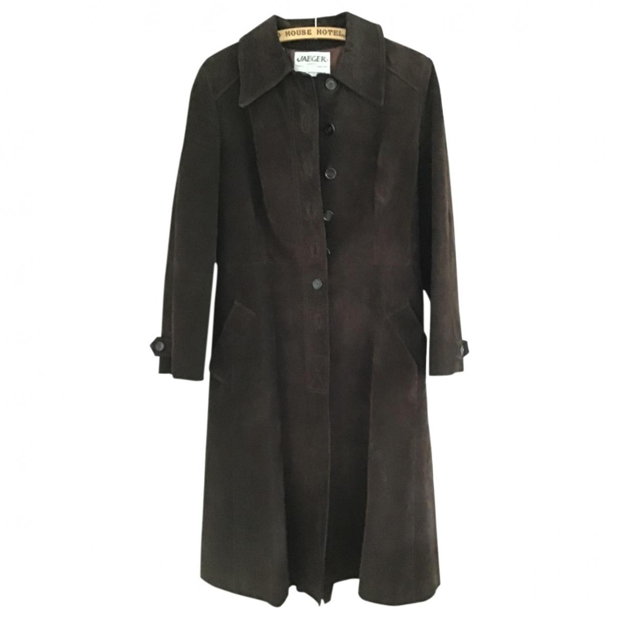 Jaeger London - Manteau   pour femme en suede - marron