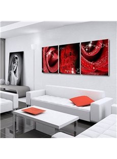 Red Roses Pattern 3 Panels Ready to Hang Framed Wall Art Prints