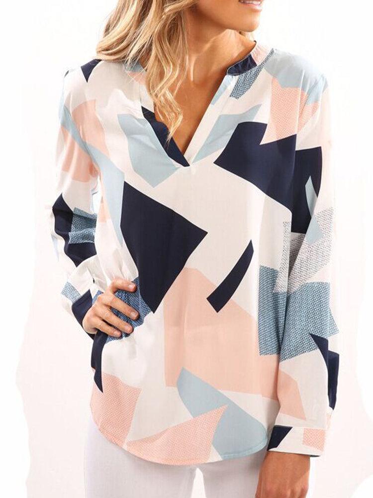 V-neck Multi-color Square Printing Long Sleeve Women Casual Blouse Shirt