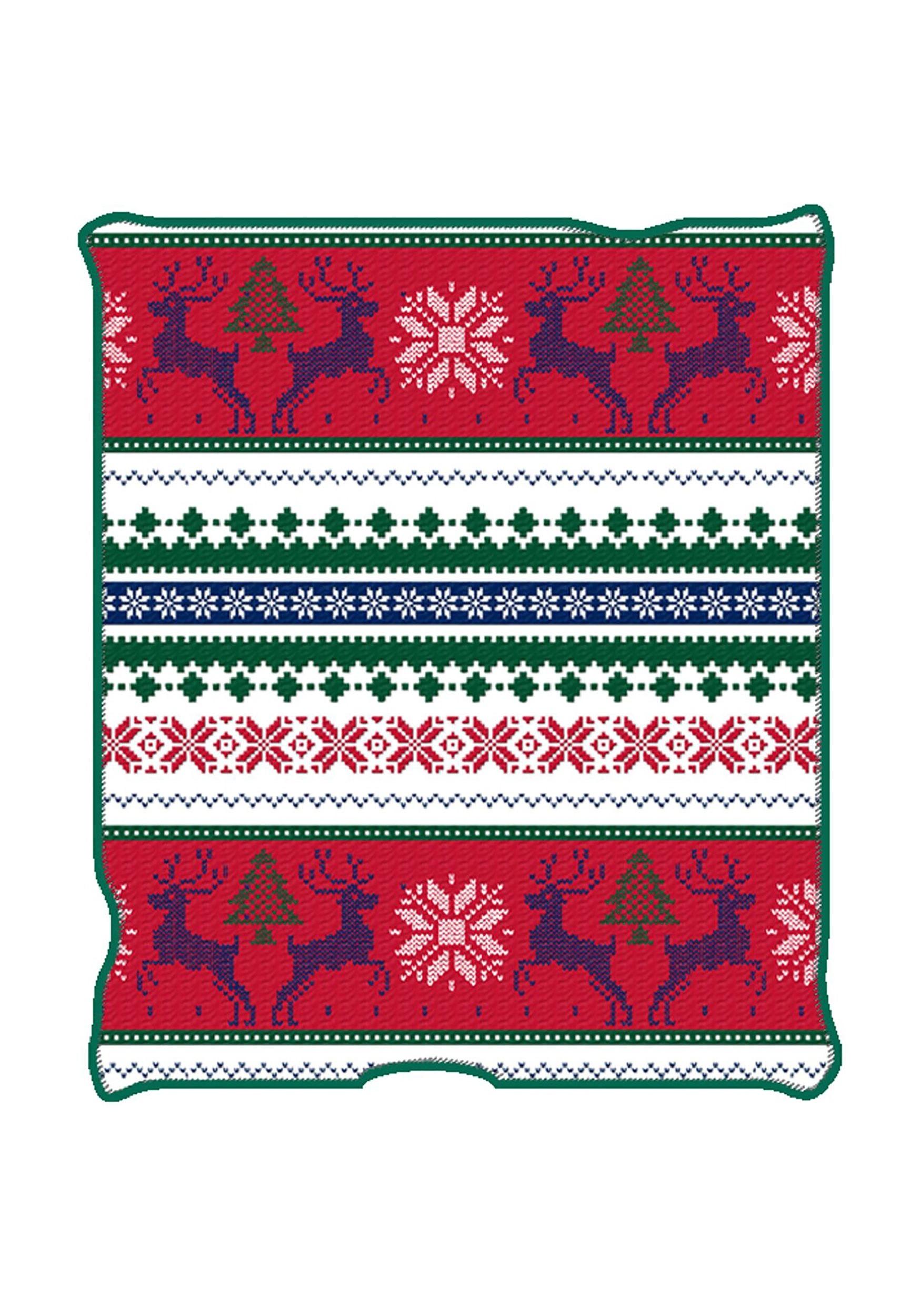 Ugly Christmas Reindeer Print Throw Blanket
