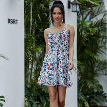 Eilly Bazar vestido de tirantes floral bajo con fruncido