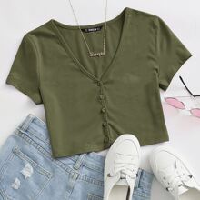 V-neck Button Front Tee